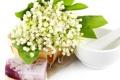 Картинка цветы, корзина, мыло, ландыши, flowers, spa, lilies