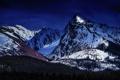 Картинка лес, снег, горы, Alberta, Canada, Maligne Lake