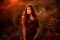Картинка девушка, закат, природа, кареглазая