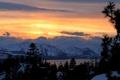 Картинка зима, лес, закат, горы, Mountain Light