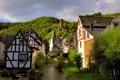 Картинка лес, ручей, башня, дома, Германия, Монреаль, Рейнланд-Пфальц