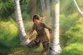 Картинка лес, деревья, мальчик, березы, assassins creed, Радунхагейду, Коннор
