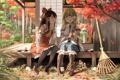 Картинка листья, деревья, дом, девочки, арт, клен, touhou
