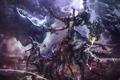 Картинка оружие, молнии, монстр, меч, воин, отростки, конечности