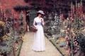 Картинка цветы, корзина, джентльмен, Leighton Edmund Blair, наряд., Lady in a Garden big
