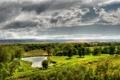 Картинка поле, небо, облака, деревья, пейзаж, река, холмы