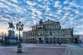 Картинка небо, облака, Германия, Дрезден, площадь, памятник, театр