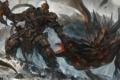 Картинка камни, секира, арт, орк, дракон, битва