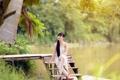 Картинка лето, девушка, озеро, азиатка