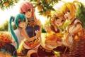 Картинка деревья, апельсины, урожай, фрукты, vocaloid, hatsune miku, megurine luka