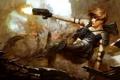 Картинка прыжок, взрыв, девушка, Purge, выстрел, оружие