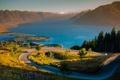 Картинка дорога, небо, трава, деревья, цветы, горы, озеро