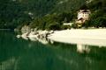Картинка лес, пляж, горы, озеро, Italy, Molveno