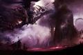 Картинка люди, молнии, дракон, башня, крепость, dragon, Guild wars 2