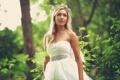 Картинка листья, Блондинка, платье, невеста