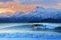 Картинка море, волны, небо, горы, Аляска, серфинг, США