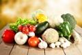 Картинка лук, овощи, помидоры, капуста, огурцы, редька, гребы