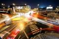 Картинка силуэты, traffic, Night crossroad, ночь, светофоры, огни, траффик