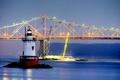 Картинка Tappan Zee bridge, Tarrytown, Нью-Йорк, маяк, мост, США, огни