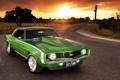 Картинка car, авто, закат, muscle car, шевроле камаро, hd wallpaper, chevrolet camaro