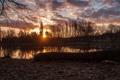 Картинка осень, солнце, деревья, озеро, рассвет, бревно