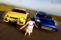 Картинка девушка, машины, гонки