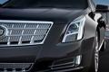 Картинка серый, Cadillac, эмблема, седан, передок, кадилак, решетка радиатора