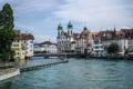Картинка небо, мост, люди, дома, Швейцария, набережная, Люцерн