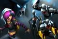 Картинка оружие, Девушка, монстр, эмблема, бойцы, костюмы