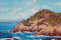 Картинка море, деревья, берег, арт, artsaus, хол