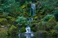 Картинка камни, водопад, сад, USA, США, Portland, вода.