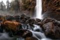 Картинка осень, лес, природа, река, камни, водопад