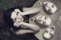 Картинка девушка, креатив, усталость, зеркало, помада, брюнетка, маски