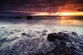 Картинка облака, небо, свет, вечер, камни, море