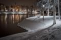Картинка река, ночь, снег, скамья