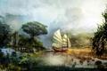 Картинка вода, пейзаж, горы, озеро, корабль, парусник, арт