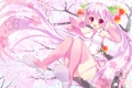 Картинка девушка, радость, дерево, настроение, яблоки, сакура, vocaloid
