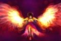 Картинка девушка, лицо, фантастика, огонь, пламя, крылья, платье