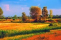 Картинка поле, трава, облака, деревья, дом