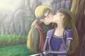 Картинка девушка, природа, поцелуй, повязка, парень, Наруто, Naruto