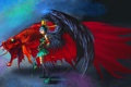 Картинка рыбка, фантастика, арт, петушок, крылья, девушка, сюрреализм