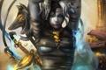 Картинка девушка, оружие, золото, лампа, меч, бинты, readman (artist)