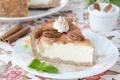 Картинка мята, пирог, корица, крем, яблоко, орехи, тарелка