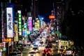 Картинка машины, ночь, город, огни, люди, улица, вывески