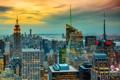 Картинка закат, город, Нью-Йорк, США