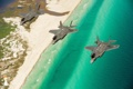 Картинка море, берег, истребители, три, полёт, Lightning II, F-35A