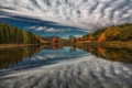 Картинка осень, лес, озеро, отражение, река