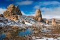 Картинка снег, камни, скалы, пустыня, Природа