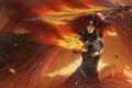 Картинка девушка, огонь, меч, арт, рыжая