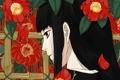 Картинка листья, цветы, крупный план, Девушка
